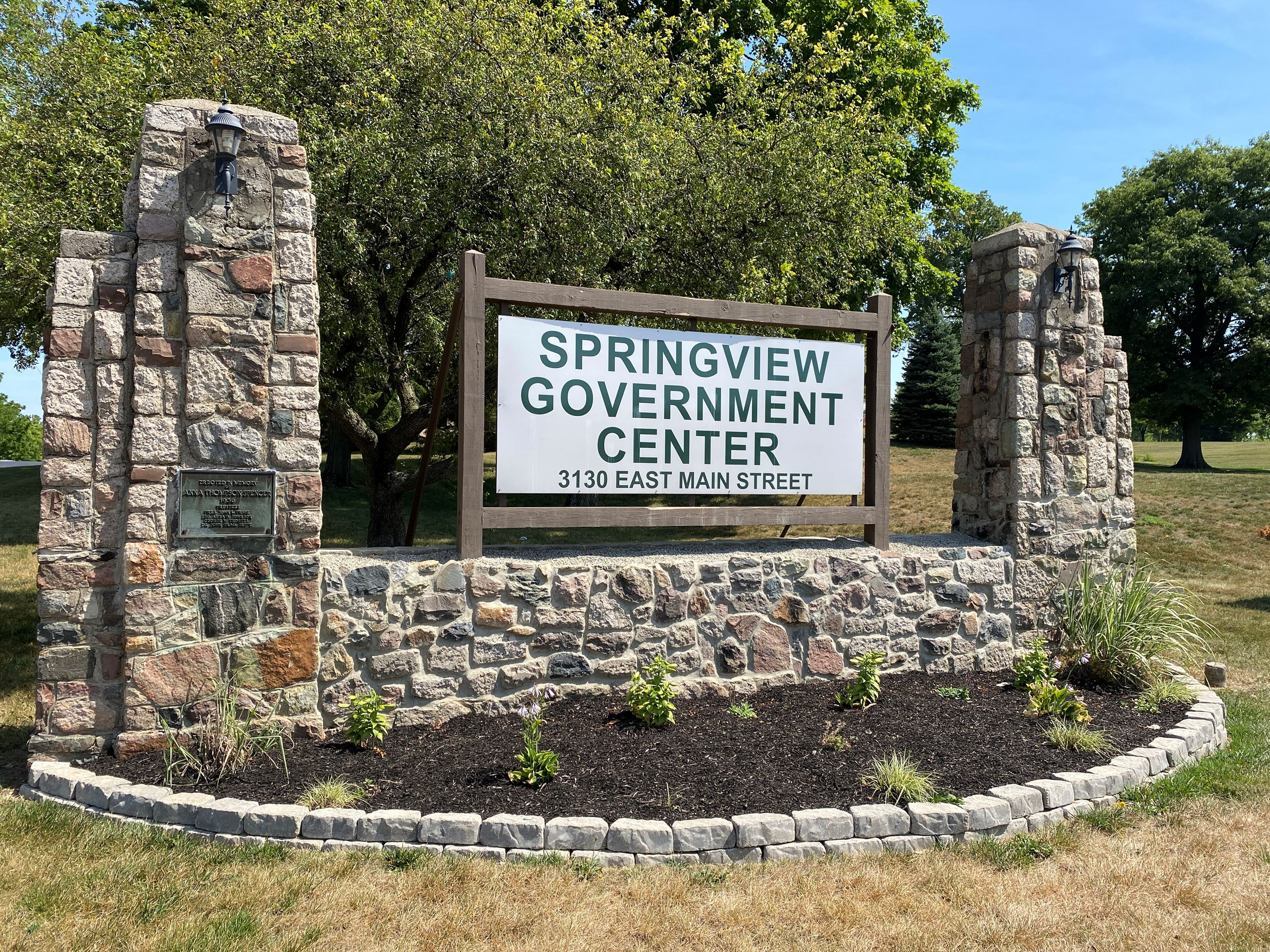 The sign at the Springview Government Center.