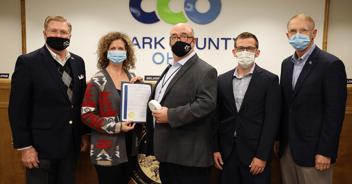 Building Safety Month proclamation photo with Clark County staff.