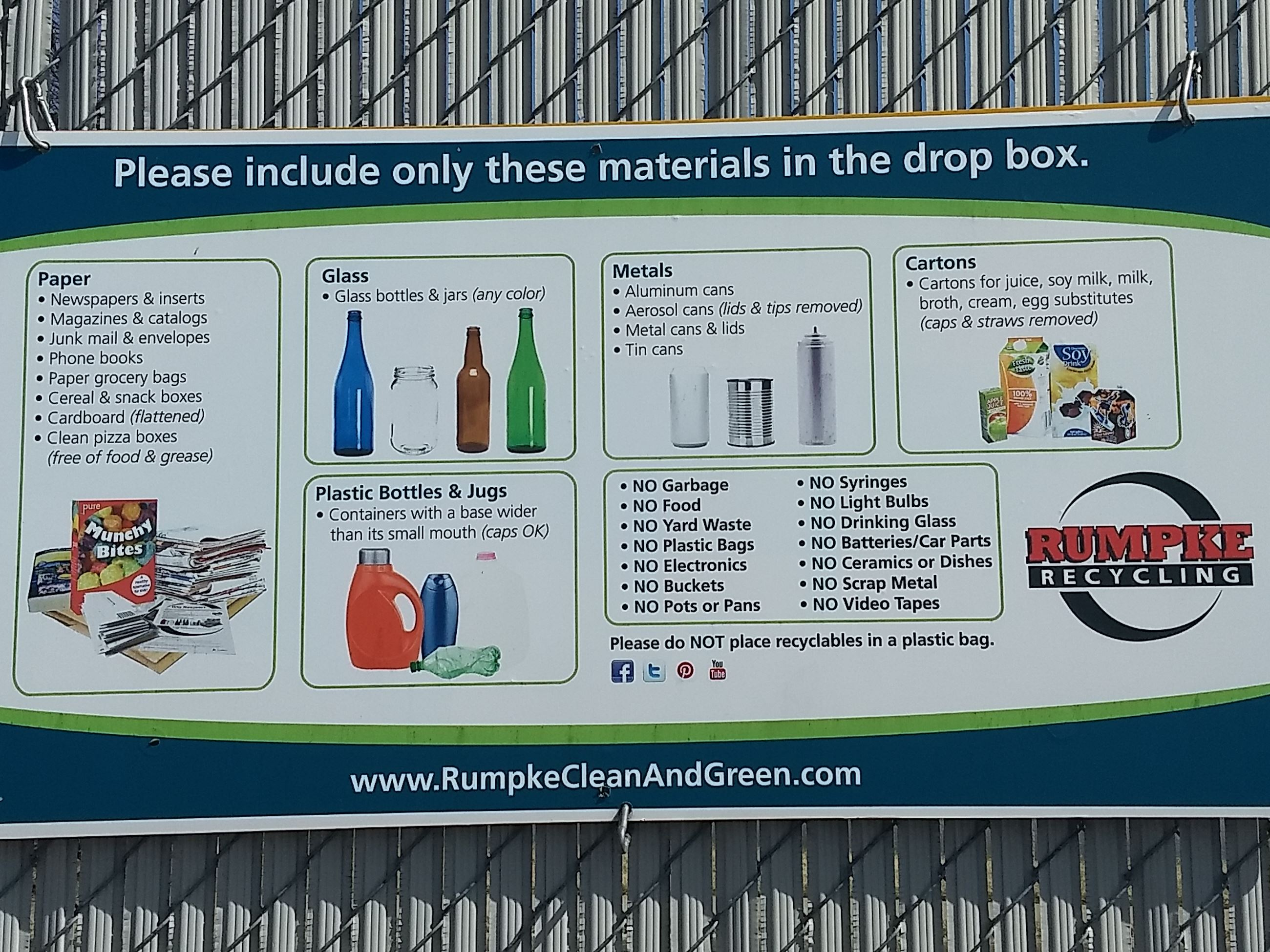 A sign with guidelines on what can be recycled.
