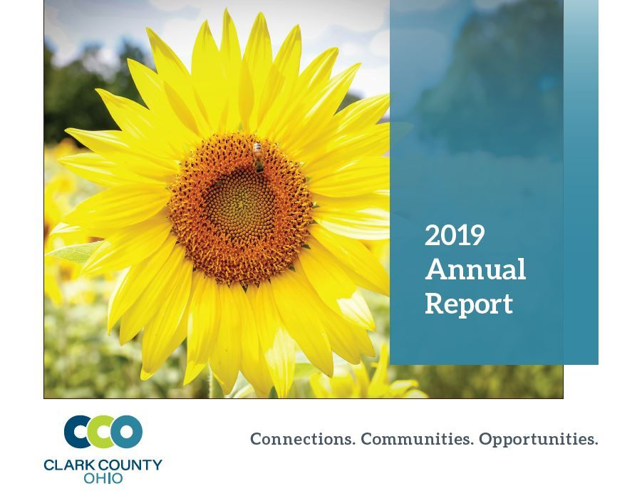 2019 Annual Report Cover photo featuring the Clark County Sunflower Field