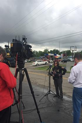 Sheriff Deb Burchett addresses the media